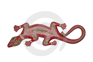 Handmade Antique African Wooden Lizard Stock Image - Image: 5137101