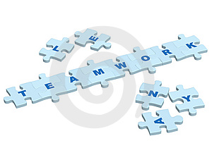 Word teamwork from slices of a puzzle Stock Images