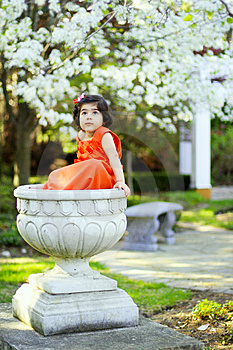 Girl In A Flower Pot3 Stock Images - Image: 5148534