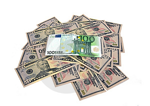 Lot Of Doolars And Euro Royalty Free Stock Photography - Image: 5149807