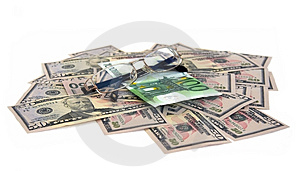 Dollars, Euro And Glasses Royalty Free Stock Photography - Image: 5149817