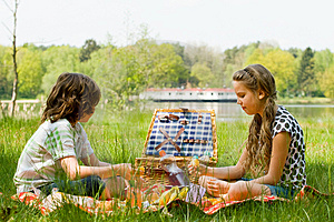 Enjoying our picnic Free Stock Image
