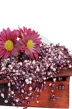 Fake Pink Pearls With Pink Flowers Royalty Free Stock Images - Image: 5159549