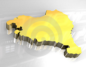 3d Golden Map Of Basque Royalty Free Stock Photo - Image: 5174475