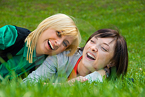 Two Young Happy Girls Stock Photo - Image: 5180680