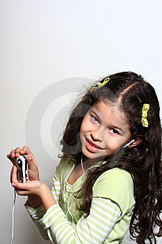 Little Girl Listen Music Stock Image - Image: 5184461
