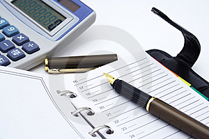 Notepad, Pen And Calculator Royalty Free Stock Photo - Image: 5195275