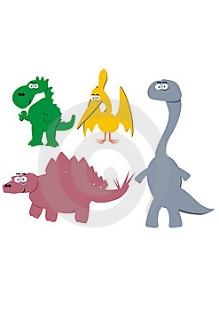Cute cartoon dinosaurs Royalty Free Stock Photos