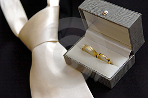 Wedding rings & wedding tie Royalty Free Stock Photo