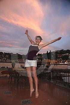 Teenage Girl Leaping For Joy Royalty Free Stock Photos - Image: 5205768