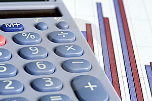 Calculator And Bar Chart Free Stock Photography
