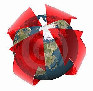 3D render červené šípky ukazujúce na severný pól.