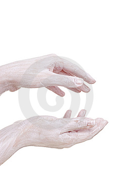 Cream On The Hands, Isolated Royalty Free Stock Images - Image: 5221149