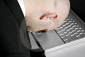 Stressed man and laptop Stock Photo