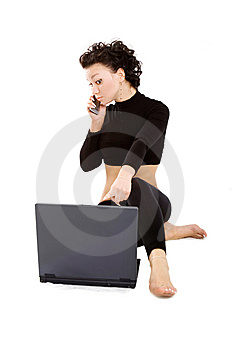 Lady With Laptop And Mobile Royalty Free Stock Photo - Image: 5230595