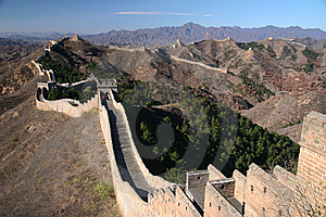 Trekking on Great Wall. Royalty Free Stock Photo