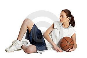 Jogador Fêmea Da Bola Da Cesta Foto de Stock Royalty Free - Imagem: 5244355
