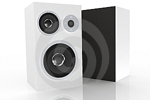 Two White Loudspeakers 2 Royalty Free Stock Photography - Image: 5248357