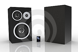 Two Black Loudspeakers With A Music Player Stock Photos - Image: 5250143
