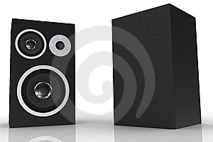 Two Black Loudspeakers With A Music Player Royalty Free Stock Images - Image: 5250199