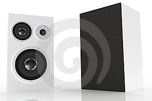 Two White Loudspeakers 3 Stock Photos - Image: 5250213