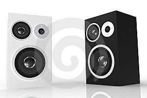 White And Black Loudspeaker Stock Photo - Image: 5250340