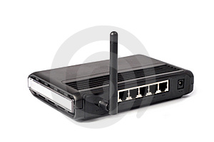 Black Wireless Router Stock Photo