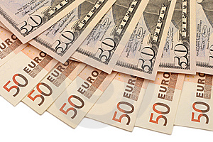 Fifty Euro And Dollar Notes Royalty Free Stock Image - Image: 5258076