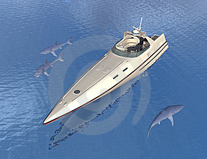 Speed Boat And Sharks Stock Photos - Image: 5264803