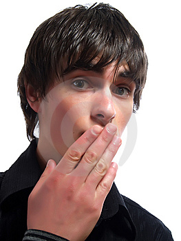 Silent And Amazed Young Man Royalty Free Stock Photos - Image: 5269448