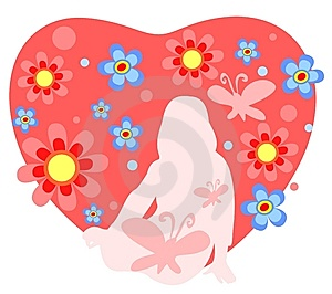 Girl And Heart Stock Photo - Image: 5269980