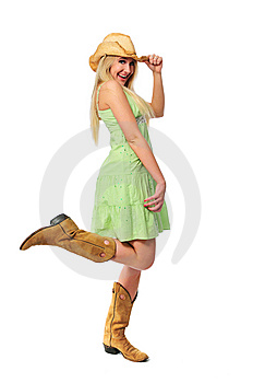Beautiful Teen Girl With Hat And Boots Stock Photo - Image: 5270160
