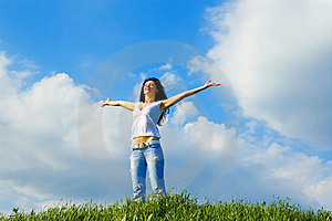 Happy young woman dreams to fly Stock Photography