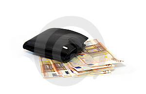 Leather Purse With Several Banknotes Of Euro Stock Photos - Image: 5274363
