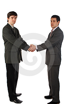 Two young man handshake Stock Images
