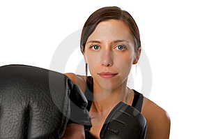Woman In Gym Clothes, With Boxing Gloves, Strength Stock Images - Image: 5282484