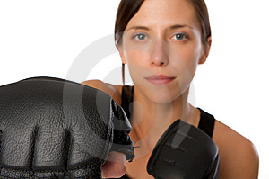 Woman In Gym Clothes, With Boxing Gloves, Strength Stock Photography - Image: 5282522