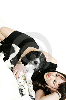 Woman With Her Puppy Stock Images - Image: 5284364
