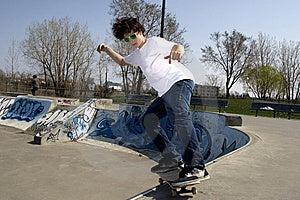 Skateboarder Doing Trick On Ramp Stock Image - Image: 5286151