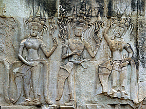 Cambodia Angkor Wat: Bas Reliefs Stock Images - Image: 5294864