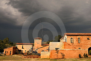 Thunderstorm Clouds Lightning Village Sunset Stock Photos - Image: 5295573