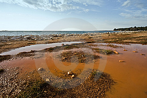 Pond On Red Dirt Royalty Free Stock Images - Image: 5297809