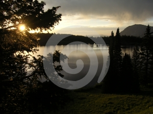 Dark Sunset on Mountain Lake Royalty Free Stock Photo