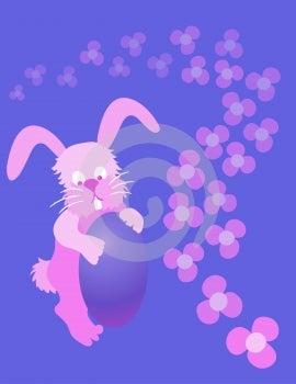Rozkošný veľkonočný zajačik s veľkonočné vajíčko fialová