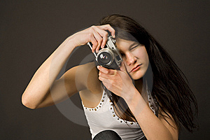 Fashion Girl With Camera Royalty Free Stock Image - Image: 5305126