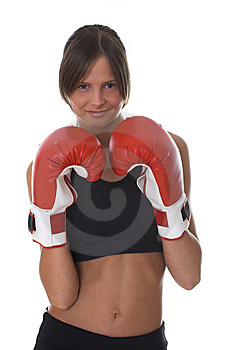 Girl With Red Boxing Gloves Royalty Free Stock Photography - Image: 5311757