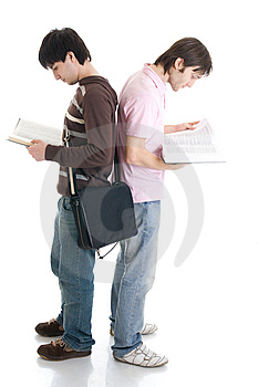 The two young students isolated on a white Stock Image