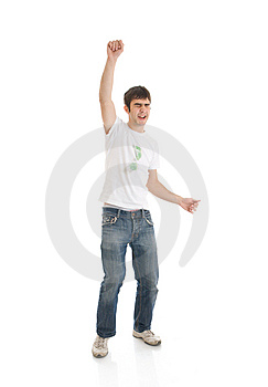 The Young Emotional Guy Isolated On A White Royalty Free Stock Photo - Image: 5314165