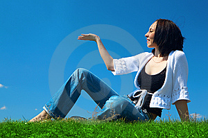 Woman Sit In Green Field Royalty Free Stock Photo - Image: 5321455