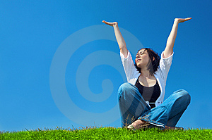 Woman In Field Hold Hand Palm Up Stock Photo - Image: 5321560